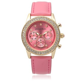 Journee Collection Women's Rhinestone Accent Round Watch (3 options available)