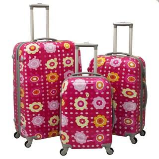 Flower Medley 3-Piece Hardside Lightweight Spinner Upright Luggage Set With Combination Lock