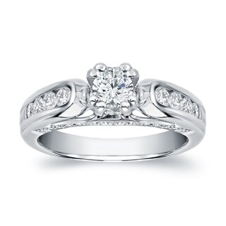 Auriya 14k White Gold 1 1/3ct TDW Round Diamond Solitaire Engagement Ring (More options available)
