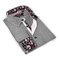 Coogi Luxe Men's Black and White Button-down Dress Shirt