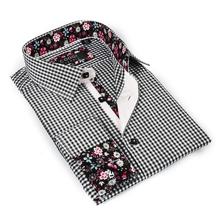 Coogi Luxe Men's Black and White Patterned Button-down Dress Shirt