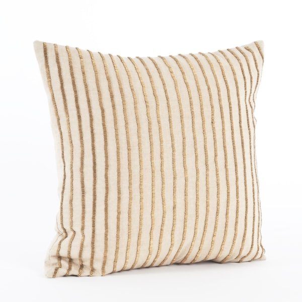 Throw Pillow Down : Gold Beaded Stripe Down Filled Throw Pillow - Free Shipping On Orders Over $45 - Overstock.com ...