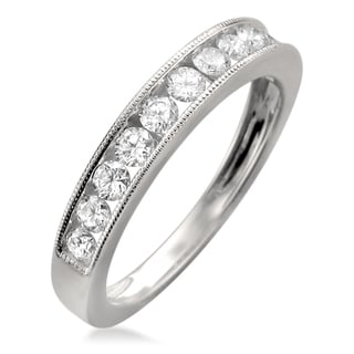 Montebello 18k White Gold 1ct TDW Round-cut Channel Wedding Band (F-G, VS1-VS2)