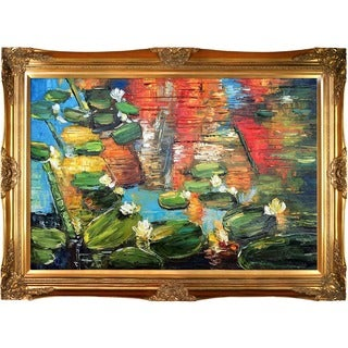 Justyna Kopania 'Water Lilies' Hand-painted Framed Canvas Art