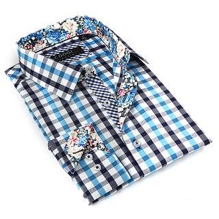 Coogi Luxe Men's White and Aqua Button-down Dress Shirt