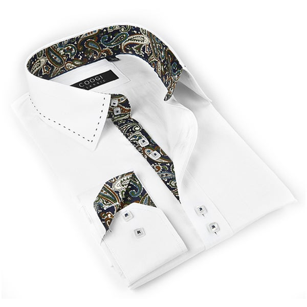 Coogi Luxe Men's White Button-down Dress Shirt