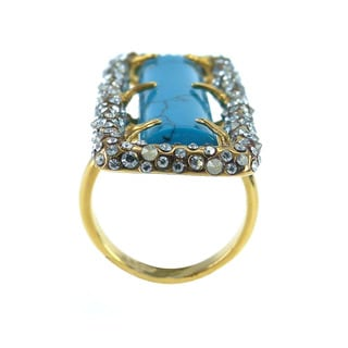 De Buman 18k Gold Plated Rectangle-shaped Created Turquoise Ring