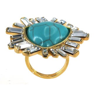 De Buman 18k Gold Plated Fancy Created Turquoise Ring