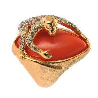 De Buman Gold Plated Monkey Red Coral Or Turquoise Gemstone Ring