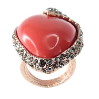 De Buman 18k Rose Gold Plated Pear-shaped Red Coral Ring
