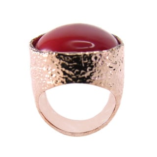 De Buman 18k Rose Gold Plated Oval Created Red Coral Ring