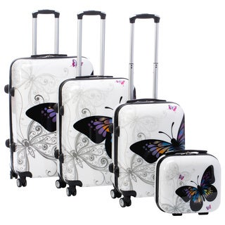 World Traveler Butterfly 4-piece Hardside Spinner Luggage Set with TSA Lock|https://ak1.ostkcdn.com/images/products/9489544/P16670362.jpg?_ostk_perf_=percv&impolicy=medium