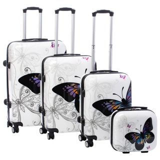 Butterfly 4-piece Hardside Spinner Luggage Set with TSA Lock