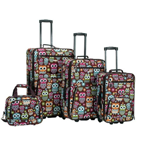 Rockland Owl 4-piece Expandable Wheeled Rolling Upright Luggage Set