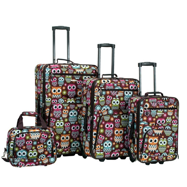 Rockland Owl 4-piece Expandable Wheeled Rolling Upright Luggage Set