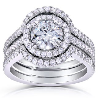 Annello by Kobelli 14k White Gold Round-cut Moissanite and 5/8ct TDW Diamond Bridal Set (