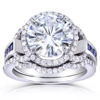Annello by Kobelli 14k White Gold 4ct TGW Round-cut Moissanite with Sapphire and Diamond Halo Bridal Set