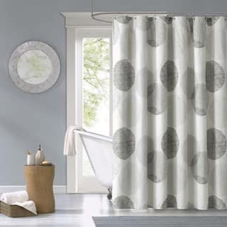 Madison Park Essentials Glendale Printed Shower Curtain Option 72x72 Grey