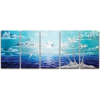 'Blue Paradise' XL 5-panel Handmade Metal Wall Art