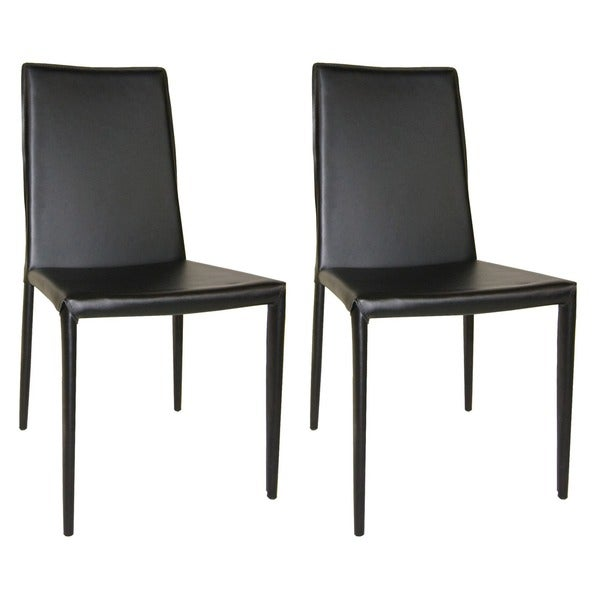 Aurelle Home Classic Italian Leather Dining Chair Set Of