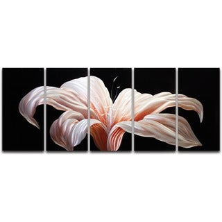 'Day Lily' Extra-large 5-panel Handmade Metal Wall Art