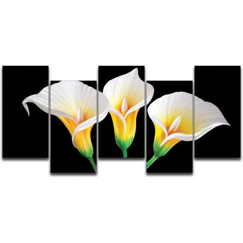 Lilies in the Dark XL 5-panel Handmade Metal Wall Art