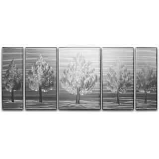 'Five Little Trees' XL 5-panel Handmade Metal Wall Art