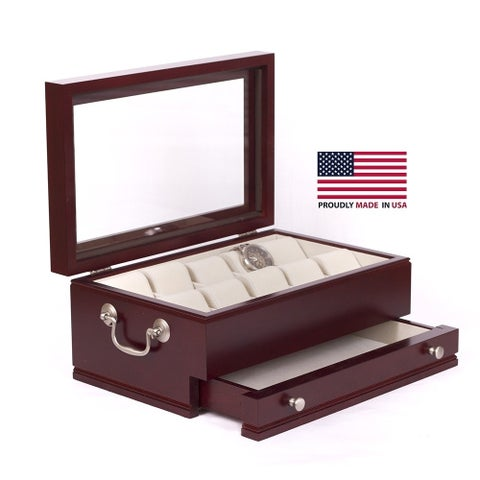 American Chest The Captain Mahogany Watch Storage Chest Case