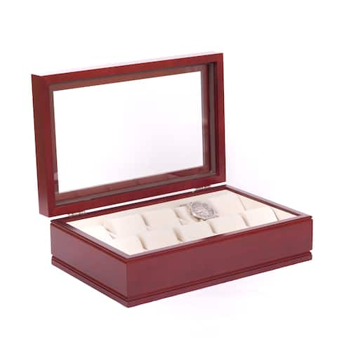 American Chest 'The Captain' Solid Cherry and Rich Mahogany Watch Storage Chest with Glass Top