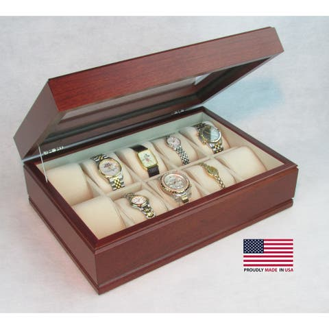 American Chest 'The Commander' Cherry Wood 10-watch Storage Chest