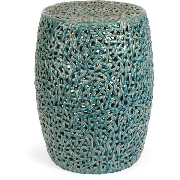 Merveilleux Tobias Cutwork Turquoise Ceramic Garden Stool