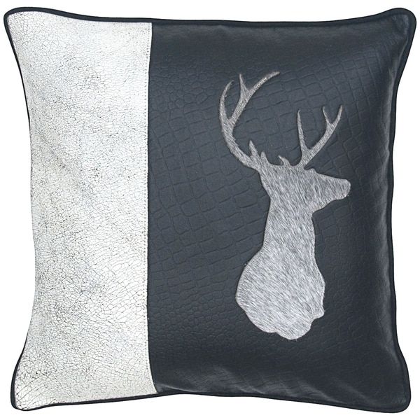 Throw Pillows Deer : Cow Hair on Leather Deer Head Decorative Throw Pillow - Free Shipping Today - Overstock.com ...