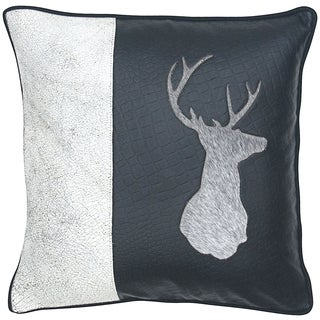Cow Hair on Leather Deer Head Decorative Throw Pillow