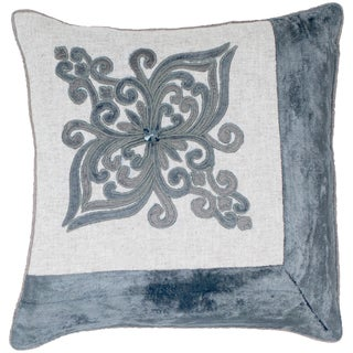 Cotton Velvet Wheat/ Gold Embroidered Feather-filled Throw Pillow
