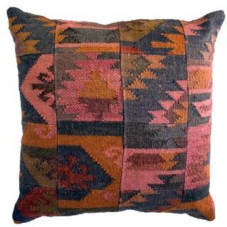 jute Multicolored Aztec Decorative Pillow