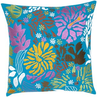 Floral Leaf Embroidered Cotton Feather-filled Throw Pillow