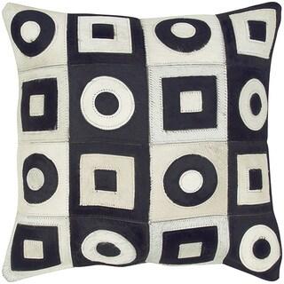 Black/ White Geometric Leather Feather-filled Throw Pillow