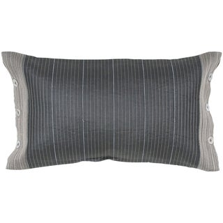 Silk Pillow with Horizontal Embroidered Stripe Feather-filled Throw Pillow