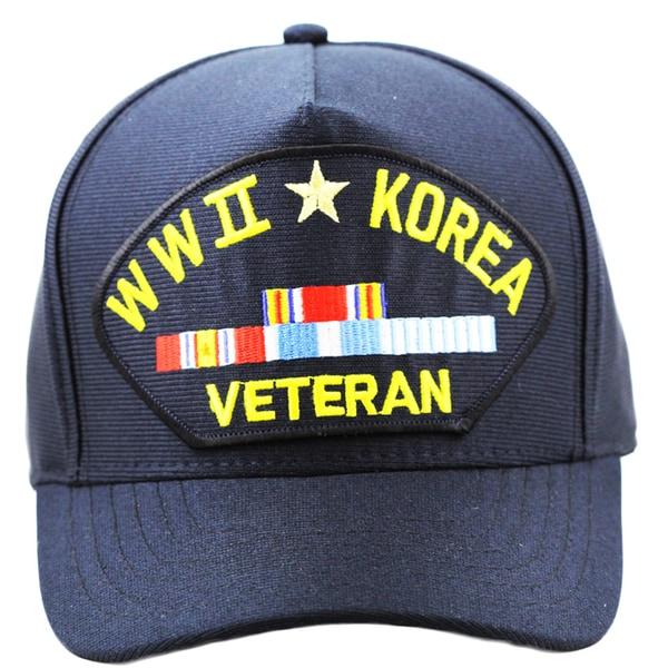 World War II and Korea Veteran Baseball Cap with Ribbons