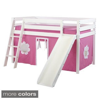 Shuffle Low Loft Bed with Angle Ladder, Slide and Underbed Curtain