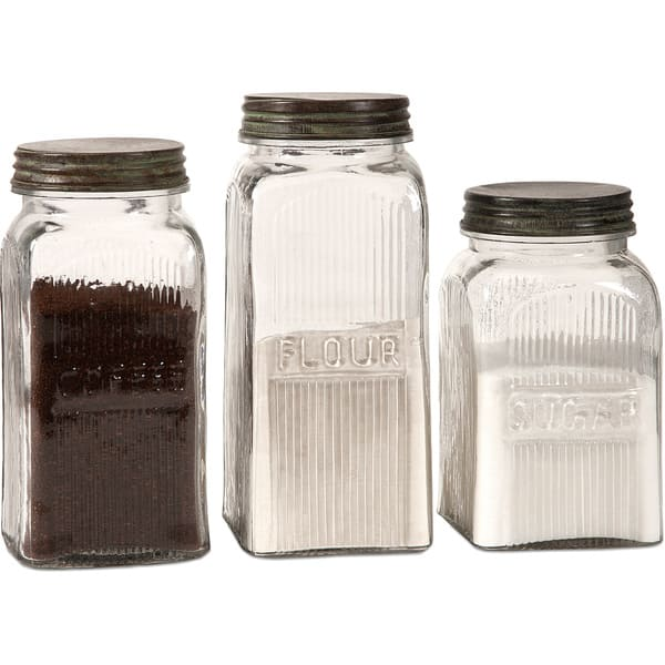 Dyer 3 Piece Glass Canister Set Overstock 9490221