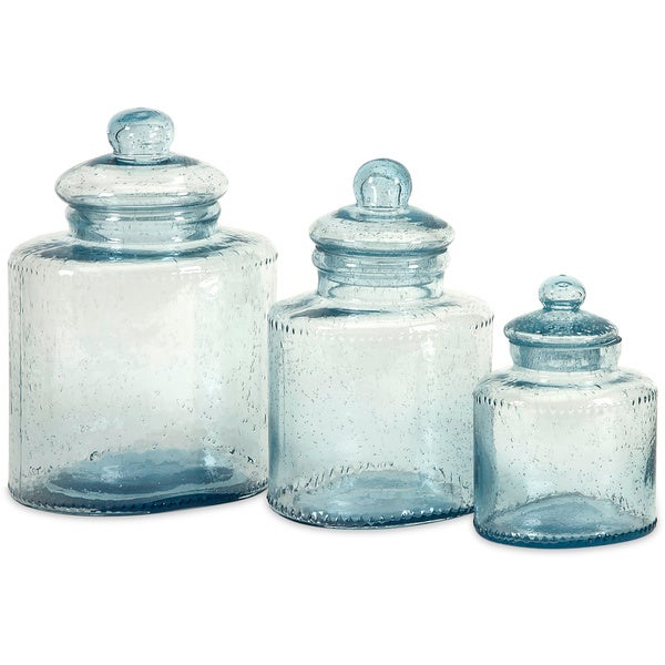 Shop Cyprus 3 Piece Glass Canister Set Free Shipping