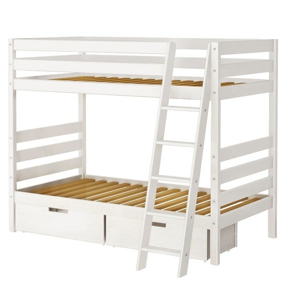 Bunk Bed with Angle Ladder and Storage Drawers Free