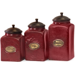 Link to 3-piece Red Ceramic Canister Set Similar Items in Kitchen Storage