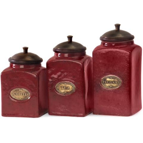 3-piece Red Ceramic Canister Set