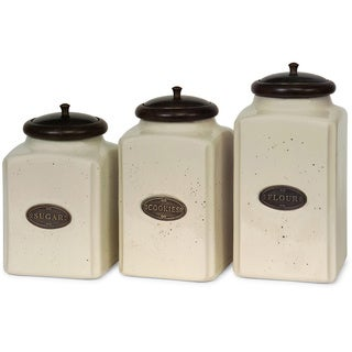 3 Piece Ivory Ceramic Canister Set