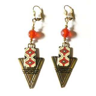 Palmtree Gems 'Amal' Triangle Enameled Dangle Earrings