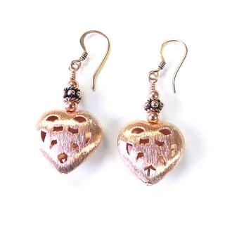 Palmtree Gems 'Delanney' Copper Heart Earrings