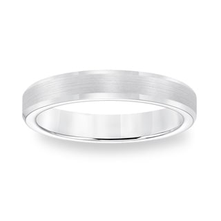 Cambridge White Tungsten Carbide Beveled Edge Comfort Fit Ring