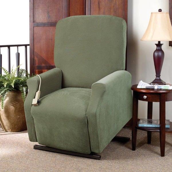 sure fit stretch pique medium lift green recliner